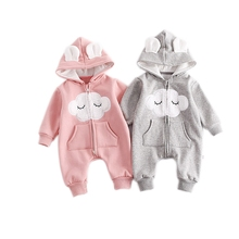 Cute Newborn Baby Hooded Romper Smile Cloud Appliqued Costume Baby Clothes Pocket Overalls Autumn Warm Long Sleeve Baby Jumpsuit(China)