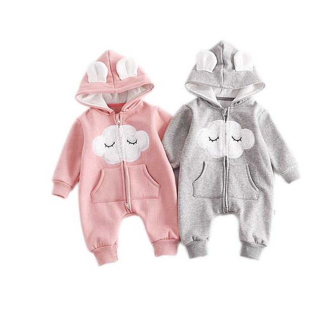 ad14bccff99d Cute Newborn Baby Hooded Romper Smile Cloud Appliqued Costume Baby ...