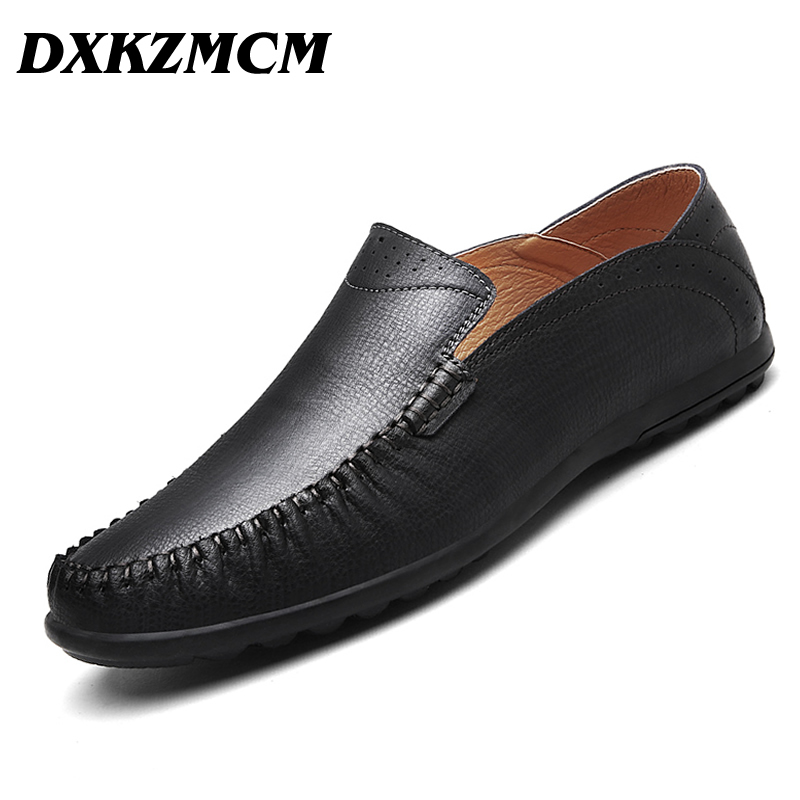 DXKZMCM Fashion Casual Driving Shoes Genuine Leather Loafers Men Shoes 2017 New Men Loafers Luxury Flats Shoes farvarwo genuine leather alligator crocodile shoes luxury men brand new fashion driving shoes men s casual flats slip on loafers