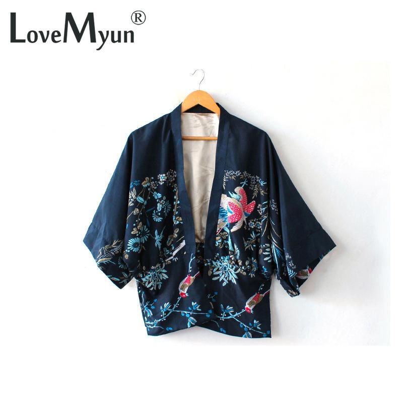 Envío Estilo Nuevo Gratis Kimono Phoenix Vintage Chaqueta Marino Abrigo 2018 Ethnic Cardigan De Mujer Azul Retro Tamaño Gran Estampado vTdw4