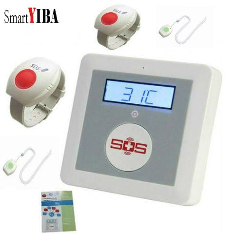 SmartYIBA Wireless GSM SMS Senior Elderly Healthcare Panel Alarm System Emergency SOS Neck Wrist Panic Button APP Remote Control