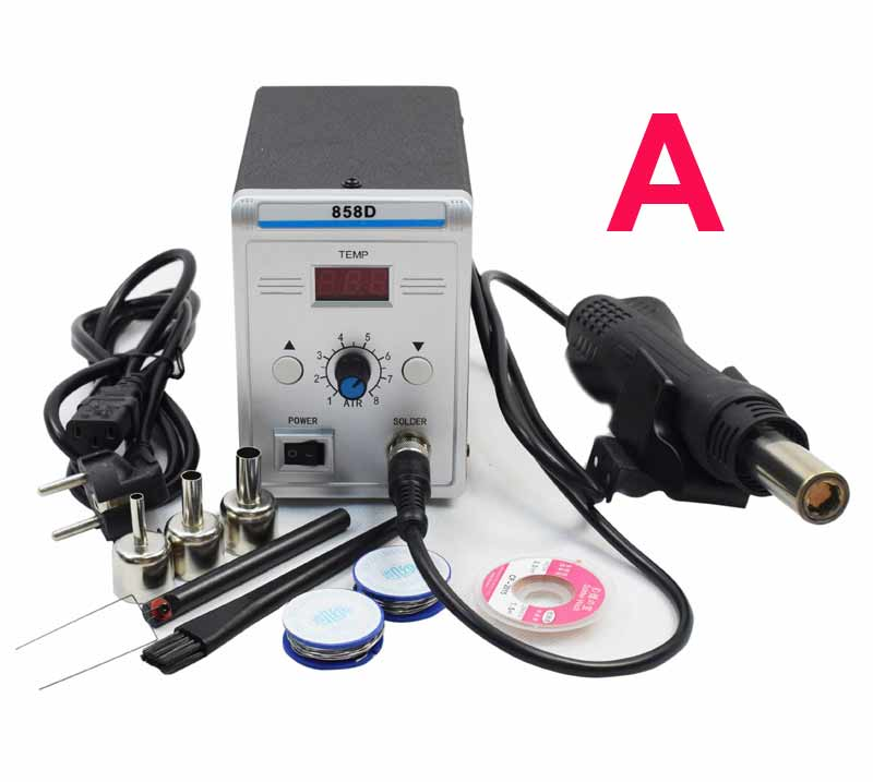 220V EU Plug  Lead-free SMD Soldering Station LED Digital Solder Iron Hot Air GUN Blowser 858D Better than YOUYUE 858D+ dhl free shipping hot sale 220v hakko fx 888 fx888 888 solder soldering iron station with 10 free tips 900m t