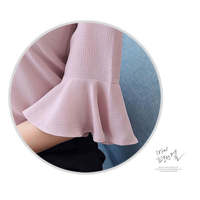 03b5aff312 2017 verano Mujer chiffon camisa suelta color sólido cuello redondo Mujer  elegante camisa media manga blanco rosa blusa femenina en Blusas y camisas  de La ...