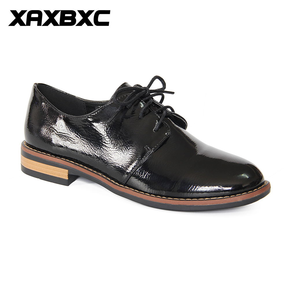 XAXBXC 2017 Retro British Autumn Black Pumps PU Leather Brogue Shallow Lace-Up Oxfords Women Shoes Handmade Casual Lady Shoes