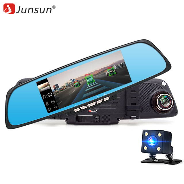 "Junsun 6.86 ""Камеры DVR автомобиля Навигации GPS с Двумя Объективами Зеркало Заднего Вида Видеорегистратор FHD 1080 P Автомобильный ВИДЕОРЕГИСТРАТОР Зеркало Dash cam"