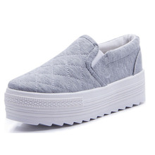 2016 New Spring Breathable Shoes Casual Platform Female Shoes white black gray colors Elevator Canvas Women's Flats Free Shiping