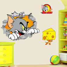3d Tom Jerry through wall stickers for kids room bedroom wall art decor cartoon movie mouse and cat wall decals diy posters gift new tom cat jerry mouse wall art decal pvc material stickers wall decals for kids room vinyl wall sticker mural wallpaper