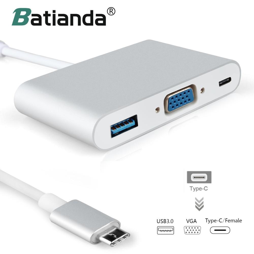 USB C Hub to VGA USB 3.0 Splitter hub USB 3.1 Type C VGA Adapter Extender for Macbook Pro 2018 2017 -C Hub цена и фото