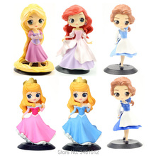 Q Posket Princess Figures Rapunzel Ariel QPosket Belle Aurora Sleeping Beauty Mermaid Collectible Doll Kids Toys for Children