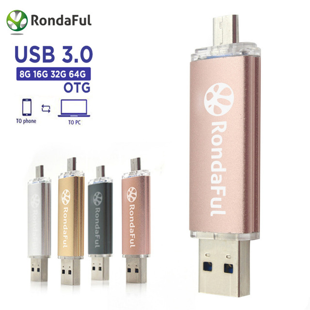 Rondaful Phone OTG USB 3.0 PenDrive Cell Phone Mobile Phone USB Flash Drive Pen drive 8GB/16/32/64GB USB Flash External Storage