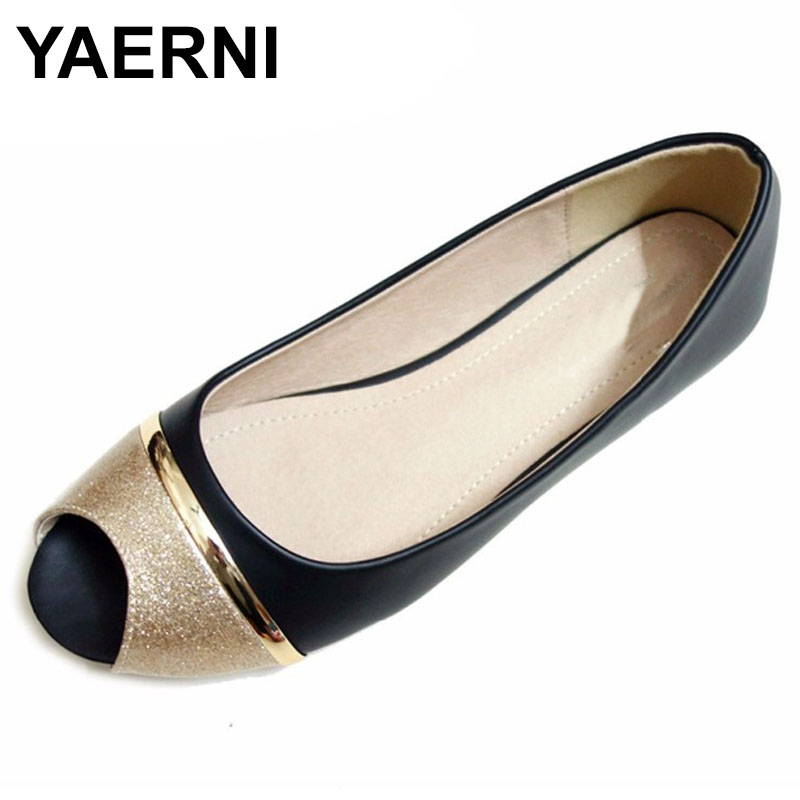 YAERNISexy Peep Toe Shoes Women Fashion Flats Shoes For Women Office Shoes Women's Flats Big Size 34-43 Ladies Shoe Black Ladies big size footwear woman flats shoes bling beads pointed toe boat shoes for women black solid fashion soft sole ladies shoe 43