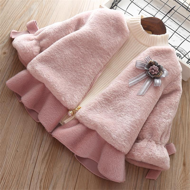 2019 New baby girl faux fur coat Winter Baby Girls Clothes Thick Warm Kids Outerwear Clothes Girls Coat Fur coats for babies