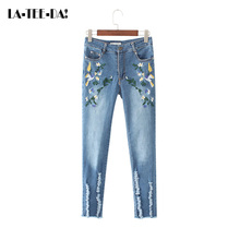 La-Tee-Da! 06 2017 Denim Pants Women Embroidery Jeans Lady Fashion Casual Bleached Elastic Pencil Pant Retro Embroidery Trousers