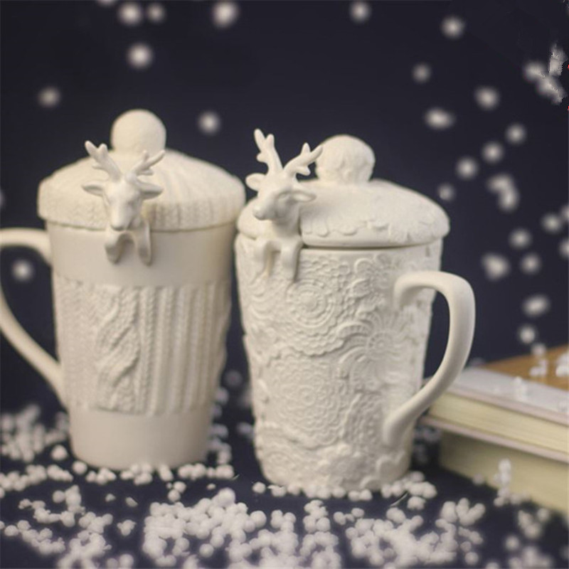 For Christmas 3D Amimal Couples Cups with Lid Cute Milu Deer Coffee Cup Milk Snow Ceramic Breakfast Creative Xmas Gift