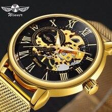 勝者公式トップブランドの高級超薄型黄金の男性機械式時計メッシュストラップスケルトンダイヤル男性クラシックビジネス腕時計