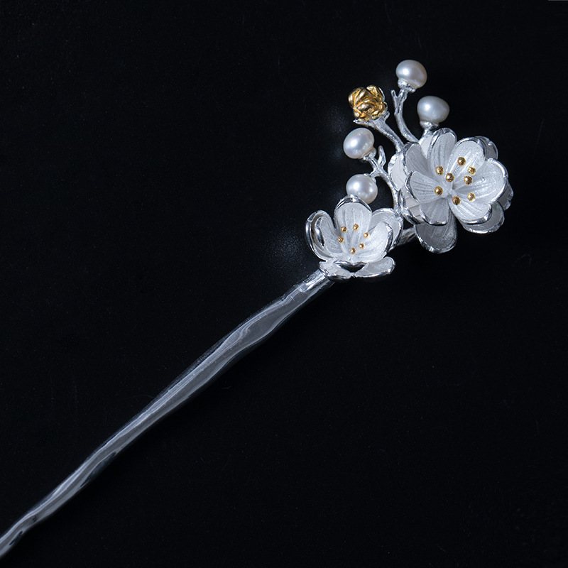 925 sterling silver vintage hairwear flower natural pearl Plum blossom handmade hairwear hair sticks for women hairwear jewelry natural dry flower nail decoration 60pcs mix 12 color daisy babysbreath plum blossom flower manicure accessories