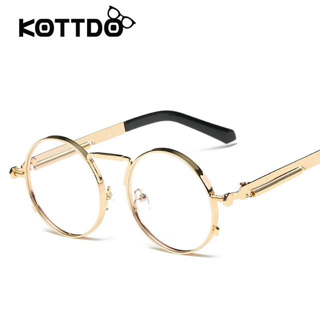 0b14574e8d8d Hip Hop Retro Round Brand Designer Eyeglasses Men Vintage Steampunk Eye  glasses Women Gold Glasses Frame Eyewear Oculo De Sol