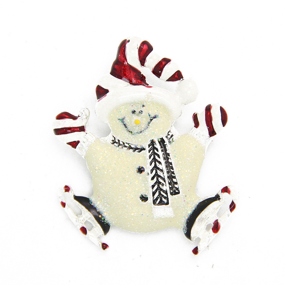 Fashion Christmas Gift Enamel font b Hat b font Cute Silver Plated Snowman Brooch Brooches Pin