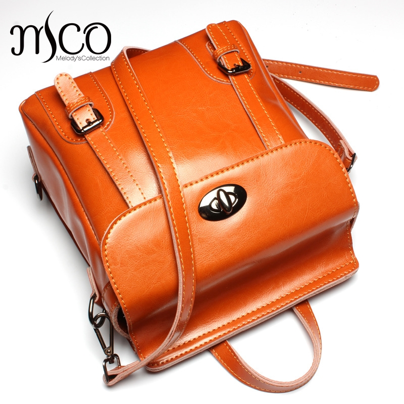 British Style Leather Backpack School Bag Oil Wax Cowhide Black Women travel backpacks Rucksack Ladies Double Shoulder Bags marc jacobs футболка