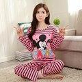 Atacado Caixa de Algodão Conjuntos de Pijama de Manga Longa mulheres Sleepwear Outono Inverno Pijama Mujer Mulheres Início Roupas Meninas Camisola