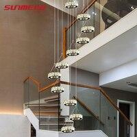 Современные светодио дный LED спираль жизни Кристалл люстры освещение Крытый приспособление для лестницы лампы витрина спальня холле отеля