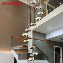 Modern Long LED Spiral Living Chandeliers Lighting Indoor Fixture for Staircase Stair Lamp Showcase Bedroom Hotel Hallway
