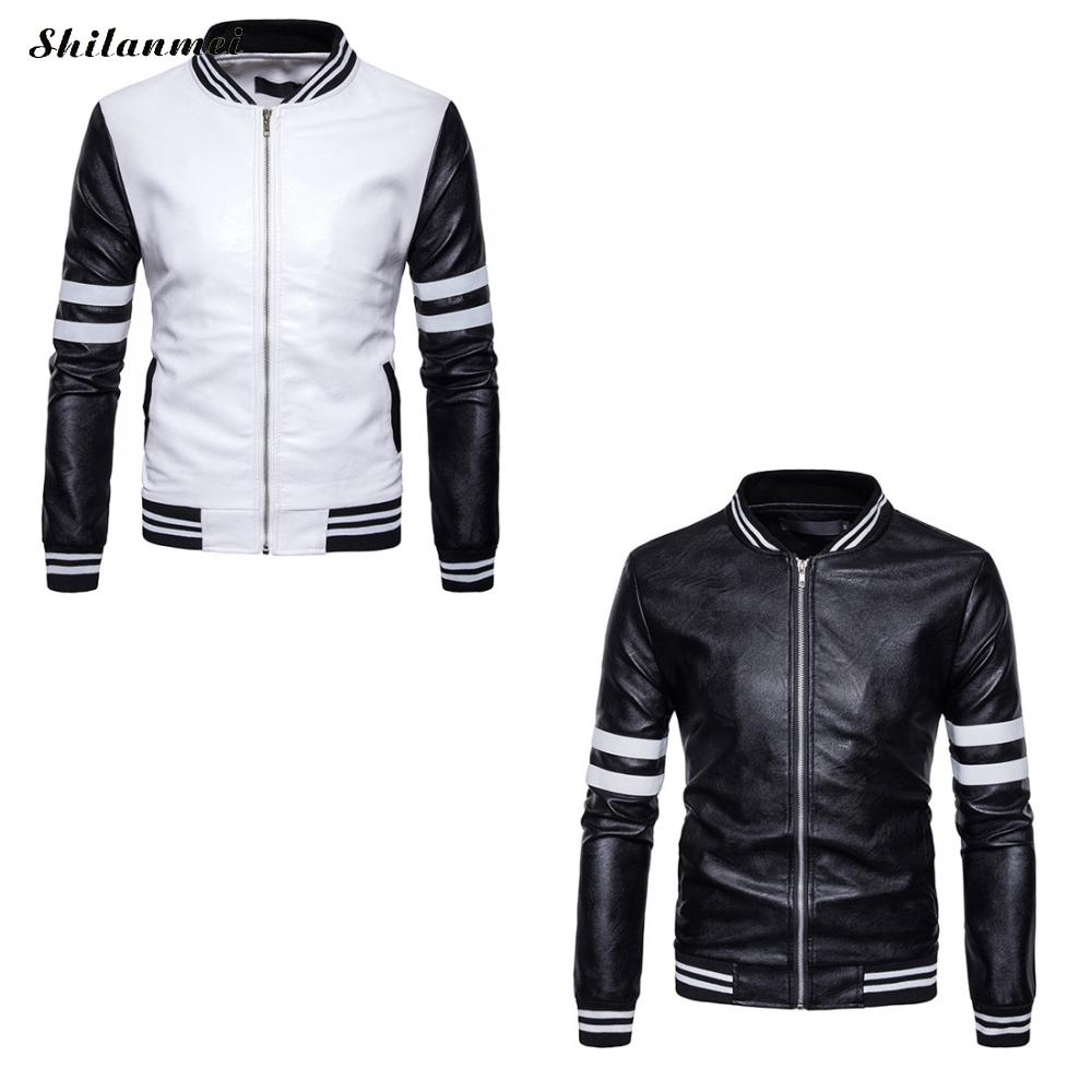 34d6386522d 2018 New striped casual Men Bomber Jackets Casual Fashion Plaid PU ...