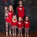 Deer Printing Christmas Paternity Suits Printed Leisure Wear Pajamas Two-piece Outfit Matching Family Christmas Leisurewear Suit