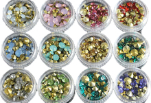 12Bottles/Pack 3 Sizes Glitter Rhinestones Nails Art Decorations Gold Sharp Bottom Resin 3D Nail Crystal Studs Manicure Diamond