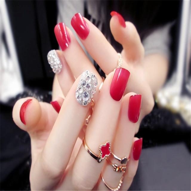 24pcs Red 3D Diamond Short Fake Nails Art Tips Acrylic Nail Full