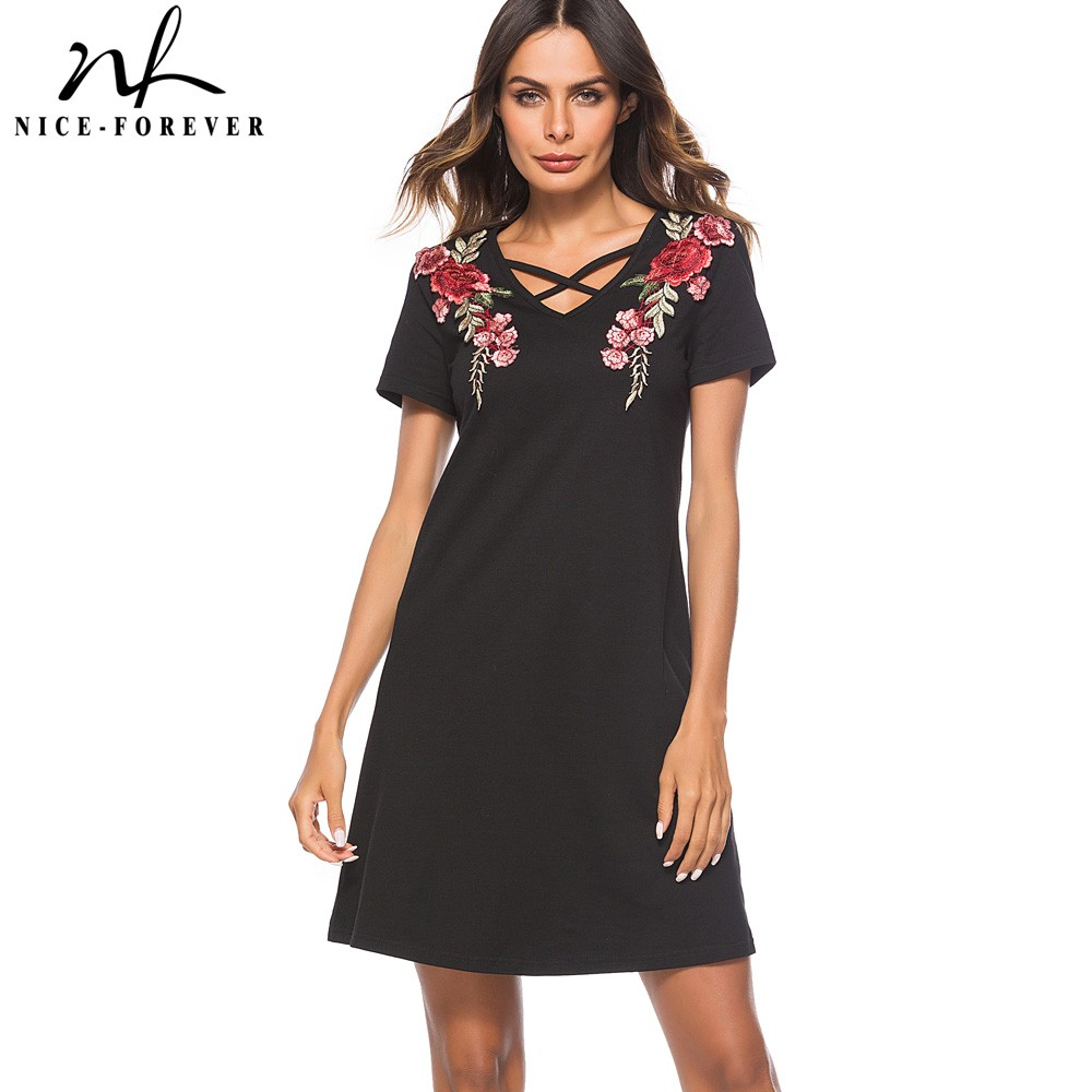 Nice-forever Causal Rockabilly Across Neck Embroidery vestidos Short Sleeve Work Women Straight Shift Summer Dress T030