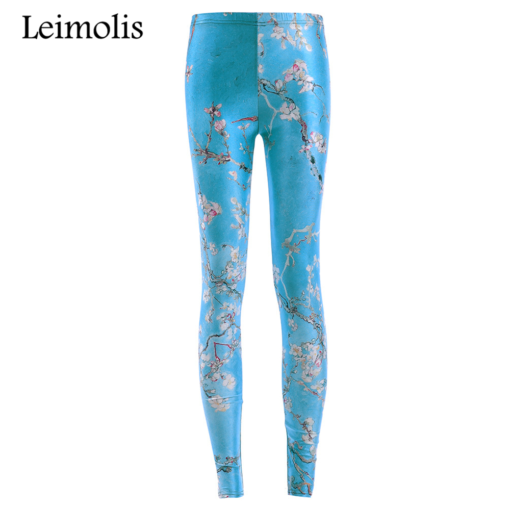 Leimolis 3D printed blue peach blossom harajuku gothic sexy plus size high waist push up fitness workout   leggings   women pants