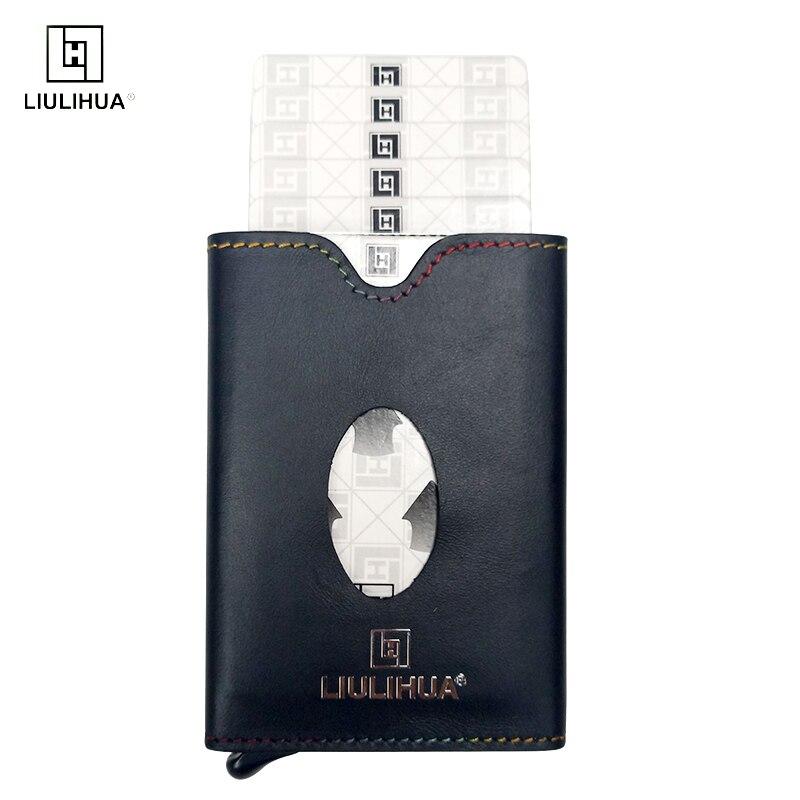 2019 mode hommes porte-carte de crédit bloquant Rfid portefeuille en cuir unisexe en aluminium mince porte-carte courte sac à main en métal
