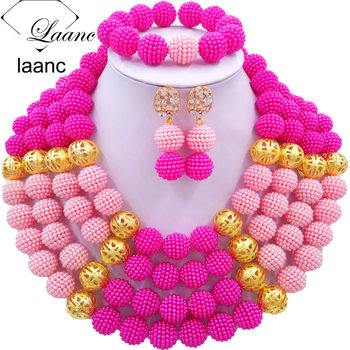 Laanc Simulated Pearl Jewelry Sets African Beads Nigerian Necklace Set for Women AL420