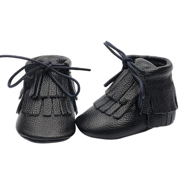 Bebé de la Muchacha Primero Caminantes Zapatos Infantiles Del Niño Recién Nacido Girls Lace-Up Marca Genine Cuero fringe 0-24 M