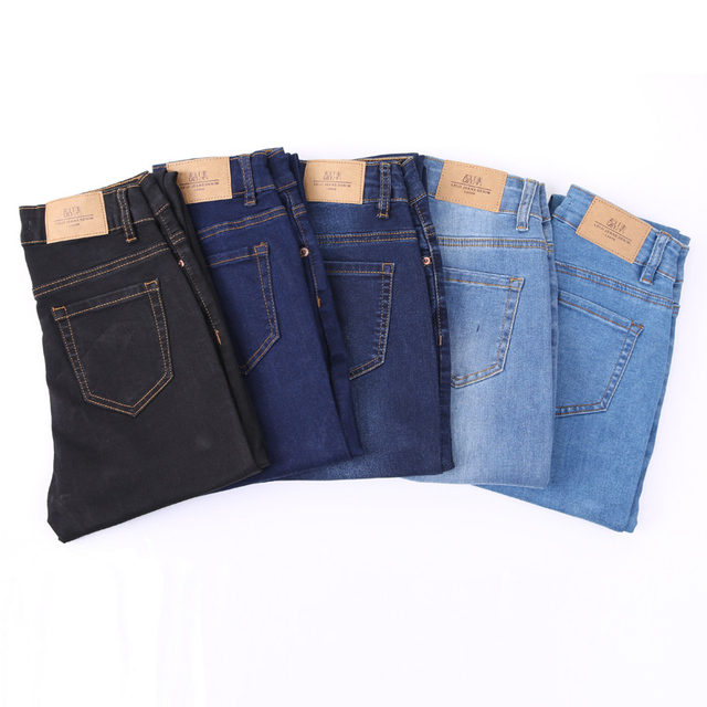 Elastic plus size Stretch Jeans female washed denim skinny pencil pants 4