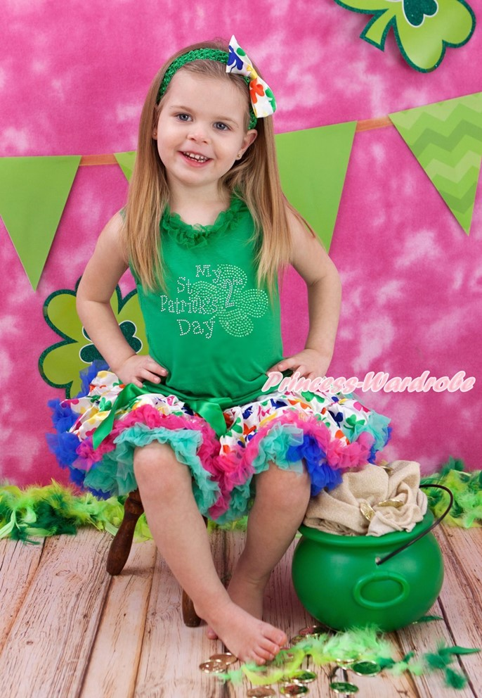 Green Top Shirt My 2ND St Patrick Day Rainbow Clover Girls Skirt Outfit Set 1-8Y white top my 2nd st patrick day clover green bling sequins girls skirt set 1 8y