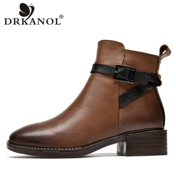 DRKANOL New Arrival Autumn Winter Ankle Boots For Women Square Heel Chelsea Boots Vintage Genuine Leather Thick Heel Women Boots 2018 new winter fashion pointed toe lace up genuine leather print flower zip rivets women ankle boots thick heel chelsea boots l