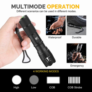 Image 4 - Super bright LED Flashlight With COB Side Light 4 Lighting modes Waterproof LED Torch For camping, adventure,Night Riding