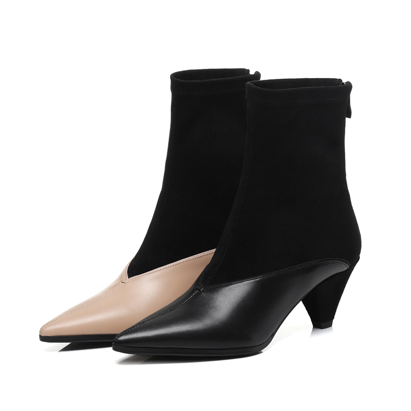 Talon Cuir Black Vache Femme Inhabituel Femmes Chaussures 2018 Femelle Wetkiss beige Nouveau Haute Zip Pointu Hiver Boot Troupeau Bottines Bout En HzExqP1nx