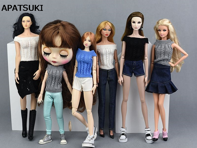 1//6 Scale Fashion Sports Shoes Casual Clothes for Blythe BJD Dolls Black