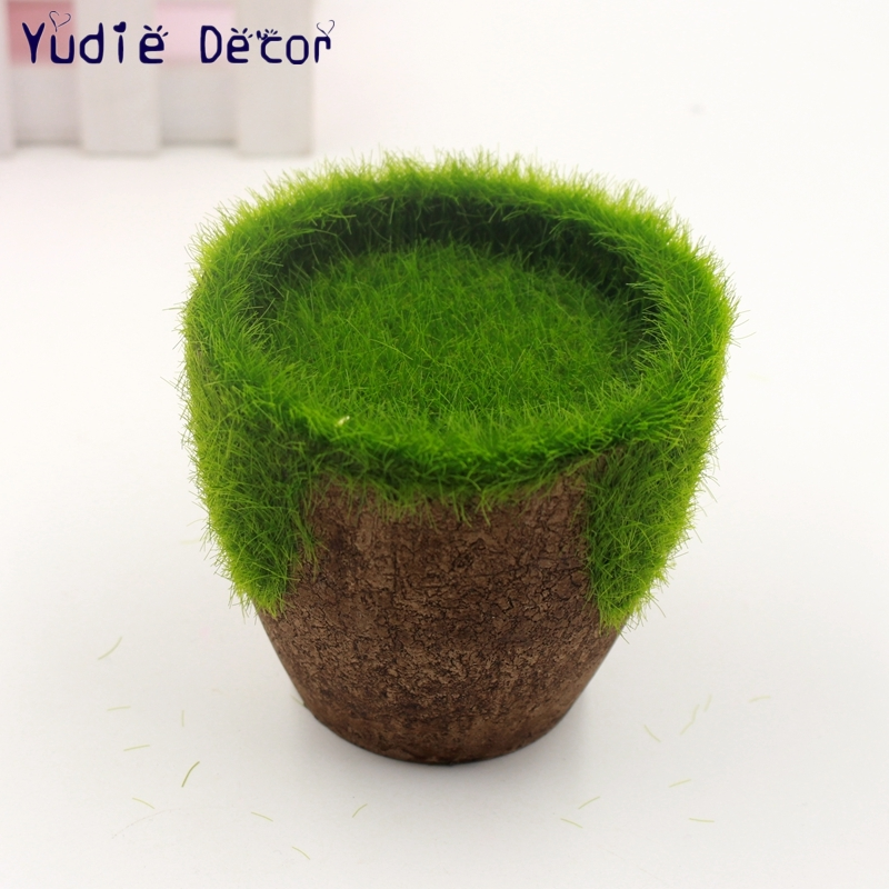Green Glass Pastoral FlowerPot Lawn Vertical Garden Pots Planters Moss  Supplies For Plastic Simulation Flowers Wooden