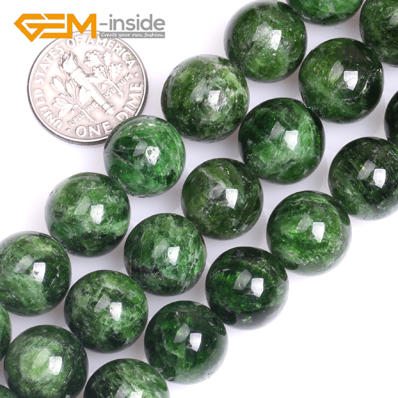 7/8/10/12/14mm GEM inside AA Grade Natural Green Diopside Stone Round Shape Beads for Jewelry Making Beads Strand 15Inches