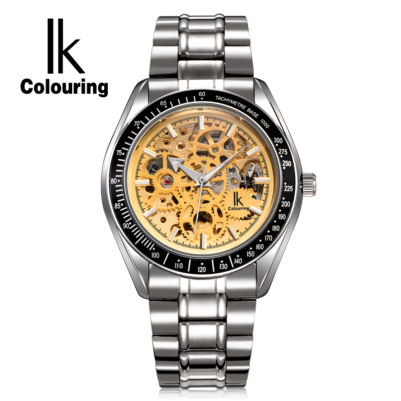 New 2017 Luxury IK Coloring Men's Orologio Uomo Skeleton Automatic Mechanical Watch Wristwatch Gift Box Free Ship ik colouring men s orologio uomo allochroic glass skeleton auto mechanical watch wristwatches gift box free ship