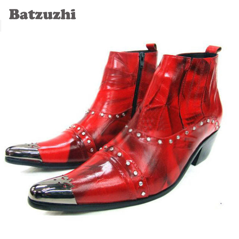 ITALY Style Fashion Man Boots Leather Boots Men Pointed Metal Toe Military Men Ankle Boots Party Black/Red, Size US12