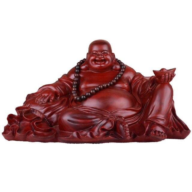 Handmade red sandalwood wood carvings large smiling maitreya