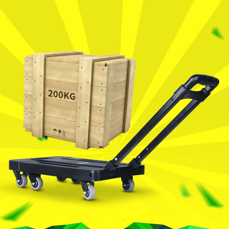 Portable Metal Folding Luggage Cart for Car Travel Accessory Luggage Shipping Trolley Trailer Adjustable Handle lengthen Chassis