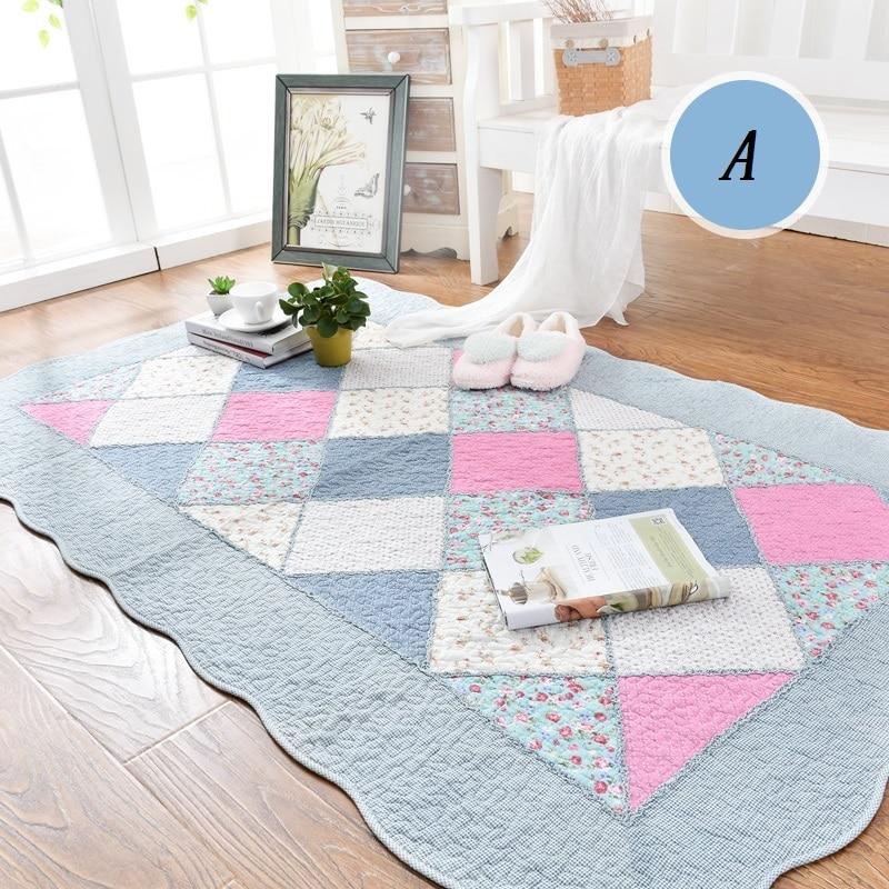 WINLIFE Korean Style Pure Cotton Carpet Fresh Floral Rug Washable Soft Mat Decorative Rug For Living
