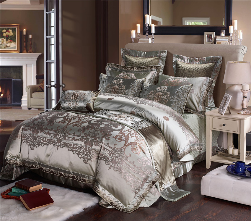 Silver Silk Cotton Satin Jacquard Luxury Chinese Bedding Set Queen King size Bedding Set Bed Sheet/Spread Set Duvet Cover 40Silver Silk Cotton Satin Jacquard Luxury Chinese Bedding Set Queen King size Bedding Set Bed Sheet/Spread Set Duvet Cover 40