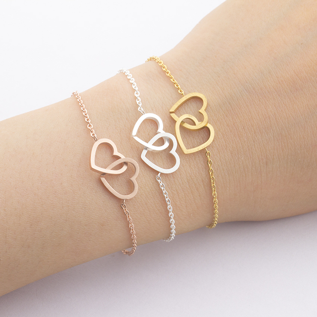 Double Heart Charm Bracelet For Women Rose Gold Pulsera Jewelry Stainless Steel Chain Armbanden Bijoux Femme Bridesmaid Gifts